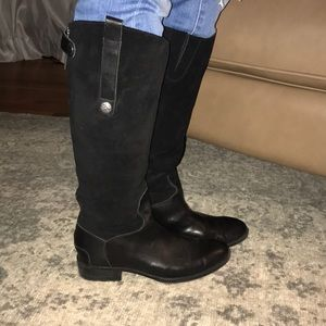 Sam Edelman Black Suede Penny Riding Boot